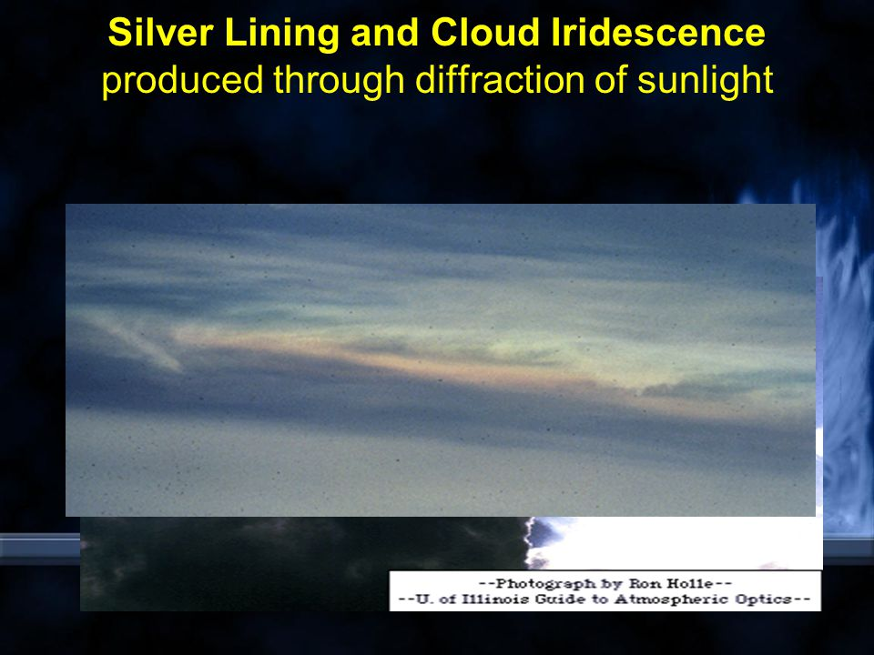 Silver Lining and Cloud Iridescence produced through diffraction of sunlight