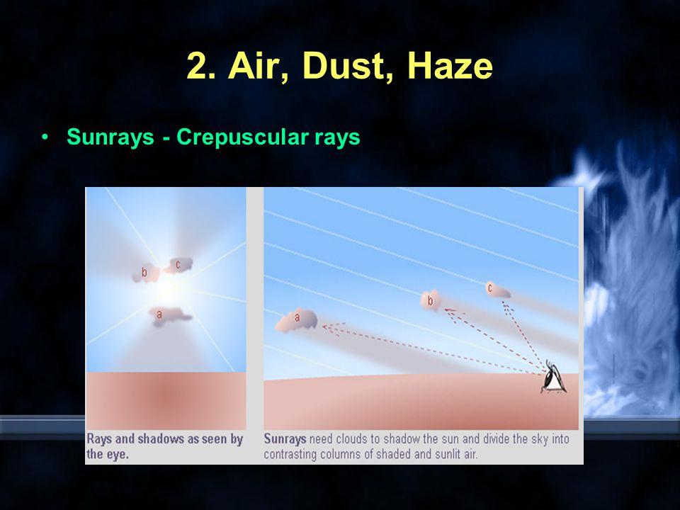 Lunar rays Anti-crepuscular rays Cloud Shadows Earth s Shadow Mountain Shadow
