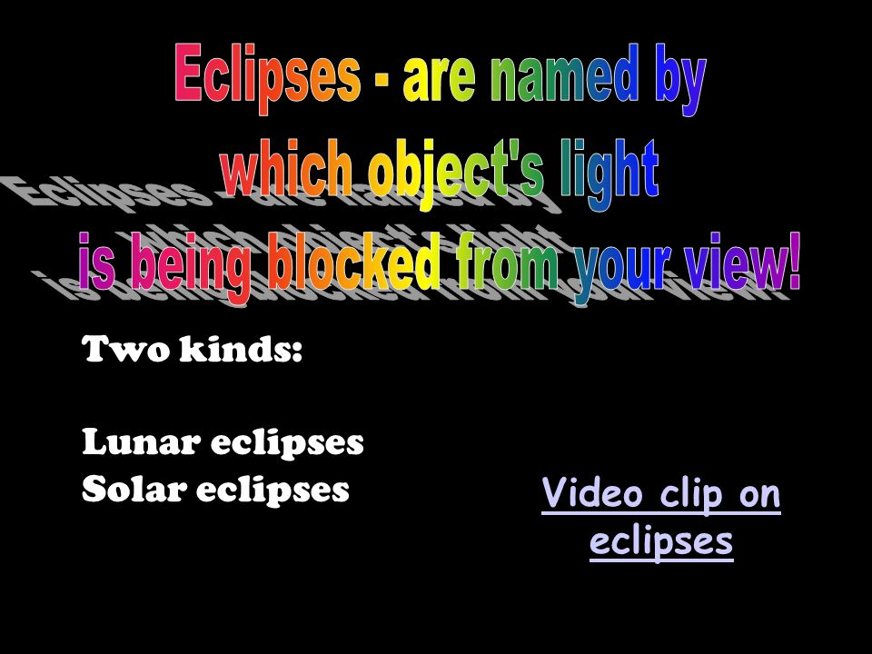 Two kinds: Lunar eclipses Solar eclipses Video clip on eclipses