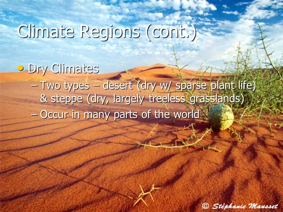 17 Climate Regions (cont.) Dry Climates Dry Climates –Two types – desert (dry w/ sparse plant life) & steppe (dry, largely treeless grasslands) –Occur in many parts of the world
