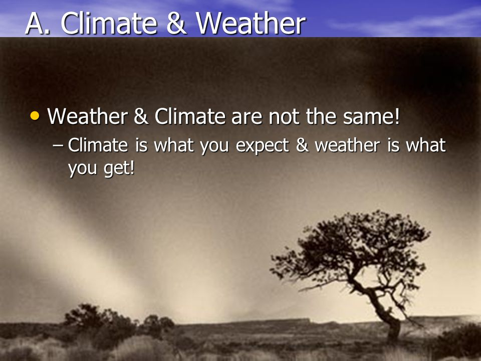 3 A.Climate & Weather Weather & Climate are not the same.