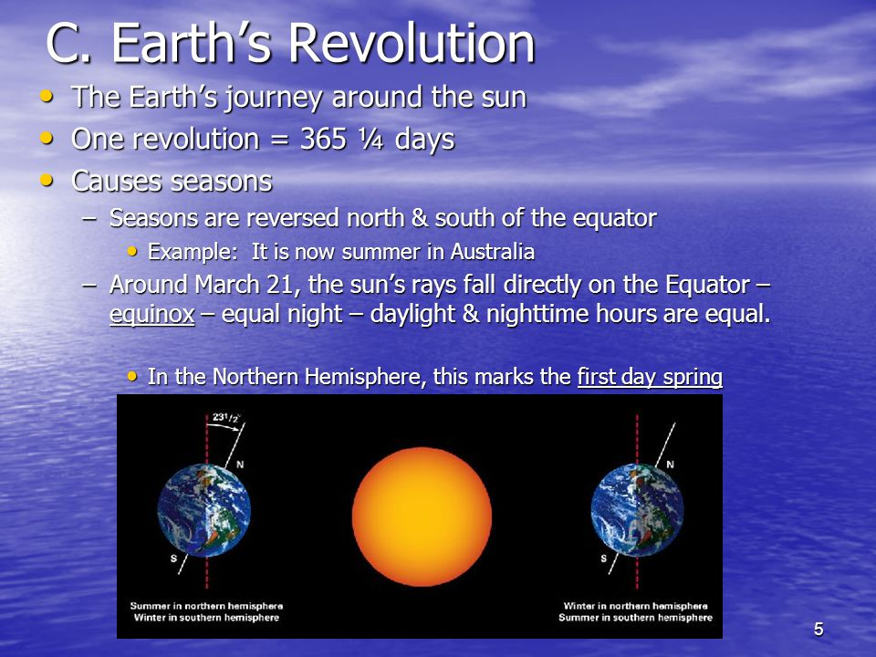 5 C. Earth's Revolution The Earth's journey around the sun The Earth's journey around the sun One revolution = 365 ¼ days One revolution = 365 ¼ days