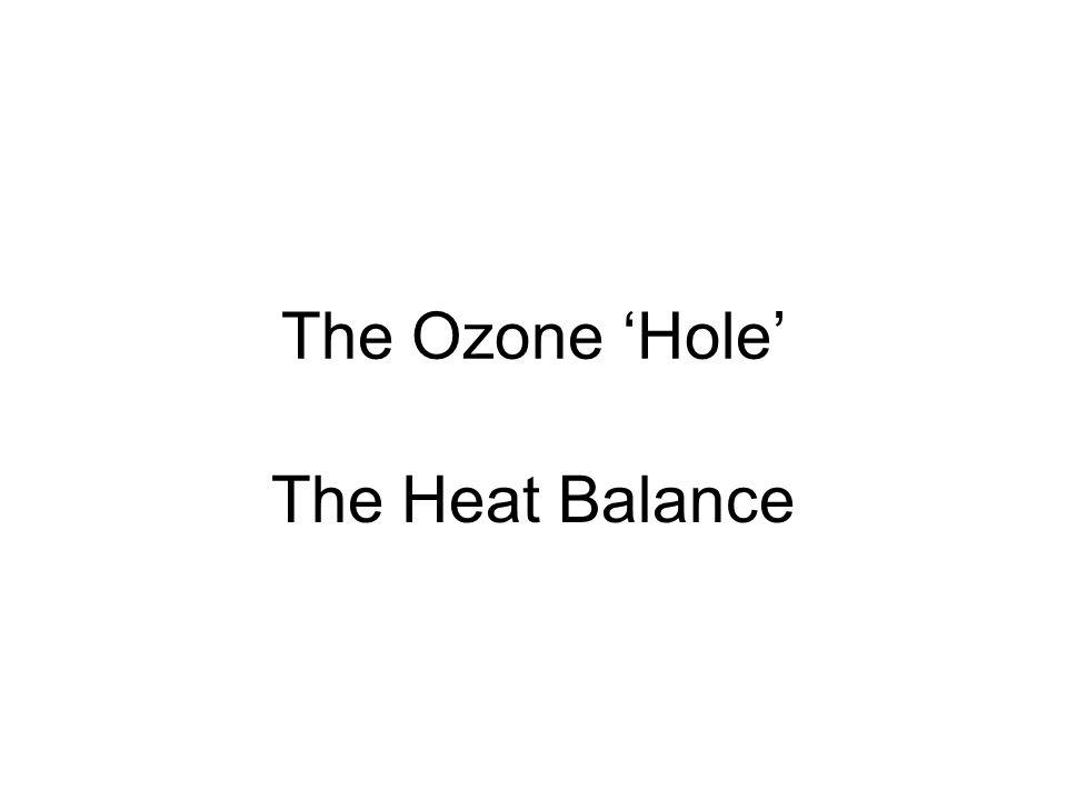 The Ozone 'Hole' The Heat Balance