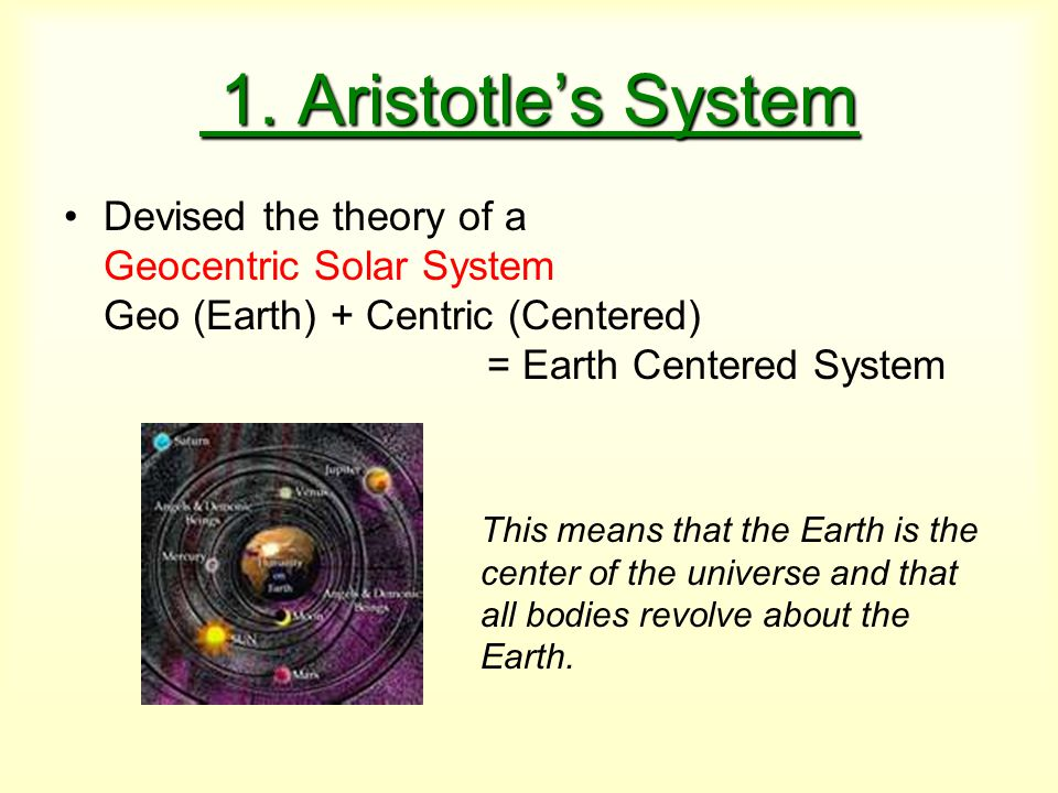 1. Aristotle's System 1. Aristotle's System Devised the theory of a Geocentric Solar System Geo (Earth) + Centric (Centered) = Earth Centered System T