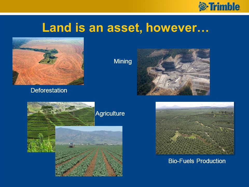 Land is an asset, however… Deforestation Mining Bio-Fuels Production Agriculture