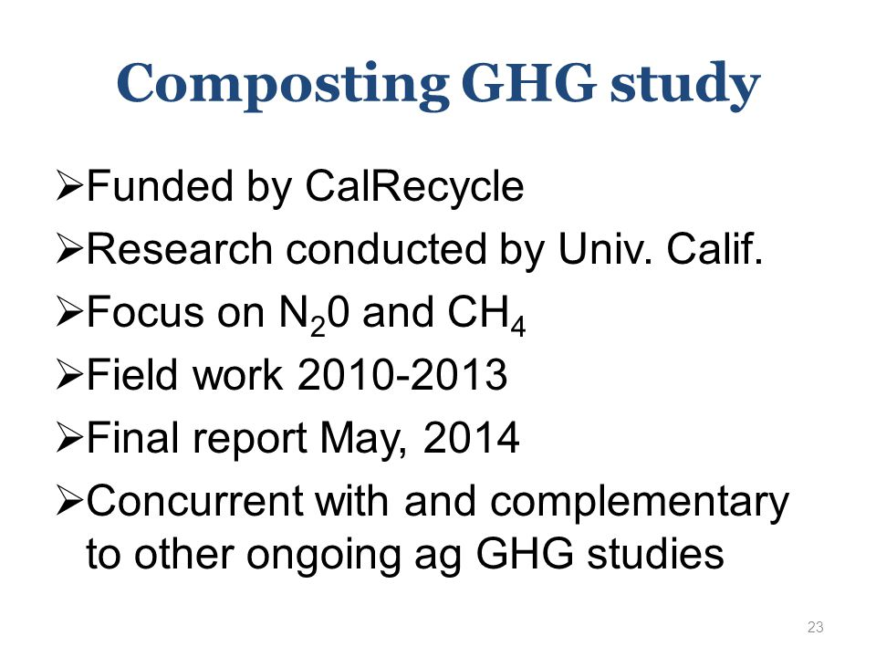 Composting GHG study  Funded by CalRecycle  Research conducted by Univ.