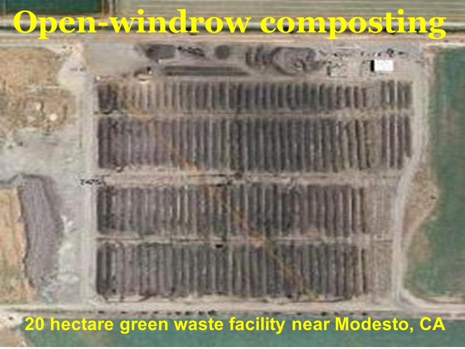 5 Open-windrow composting 20 hectare green waste facility near Modesto, CA
