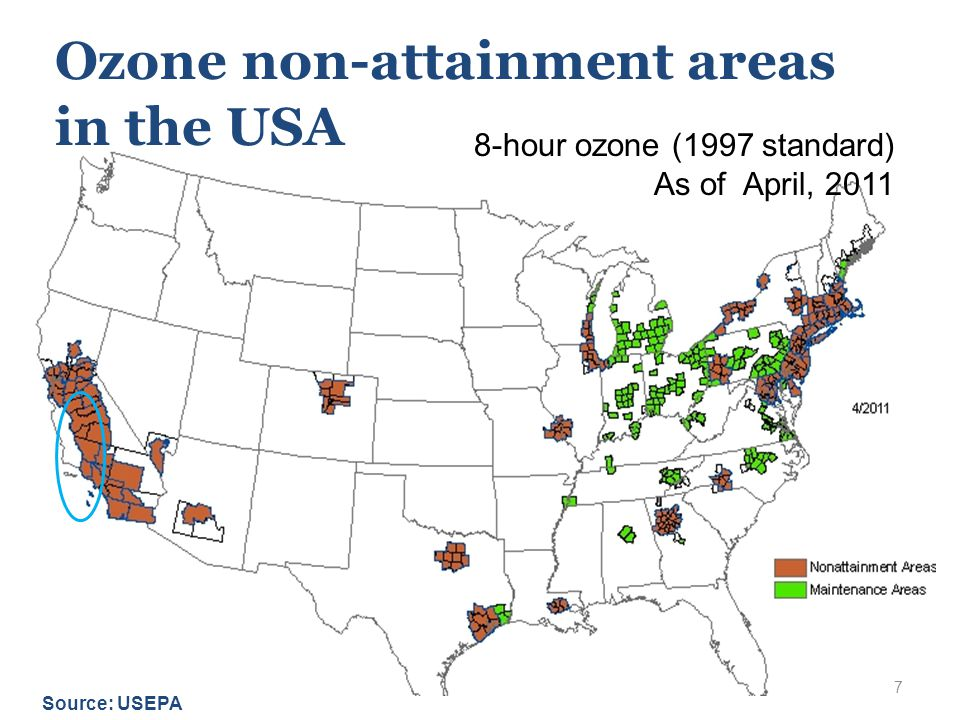 7 Ozone non-attainment areas in the USA Source: USEPA 8-hour ozone (1997 standard) As of April, 2011