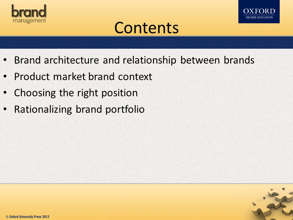 Brand architecture and relationship between brands In a brand portfolio, each brand should be unique and should result in maximizing the equity of all the brands in the portfolio and/or should not harm the equity of the other brands.