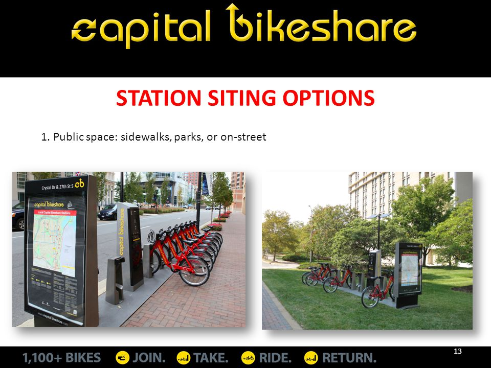 STATION SITING OPTIONS 1. Public space: sidewalks, parks, or on-street 13