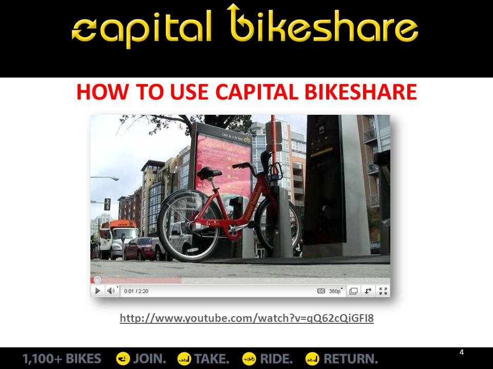 HOW TO USE CAPITAL BIKESHARE http://www.youtube.com/watch?v=qQ62cQiGFI8 4