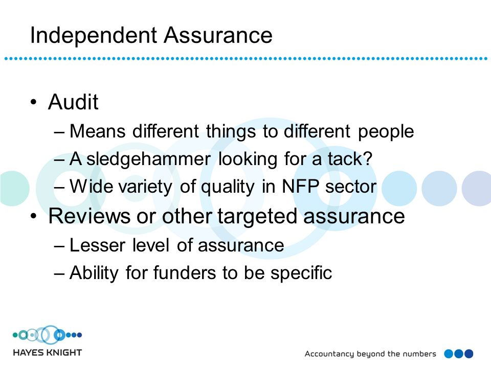 Independent Assurance Audit –Means different things to different people –A sledgehammer looking for a tack.