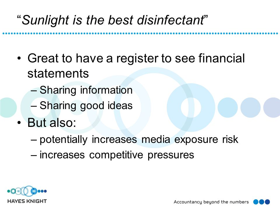 Sunlight is the best disinfectant Great to have a register to see financial statements –Sharing information –Sharing good ideas But also: –potentially increases media exposure risk –increases competitive pressures