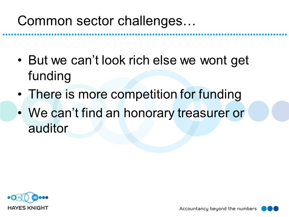 Common sector challenges… But we can't look rich else we wont get funding There is more competition for funding We can't find an honorary treasurer or auditor