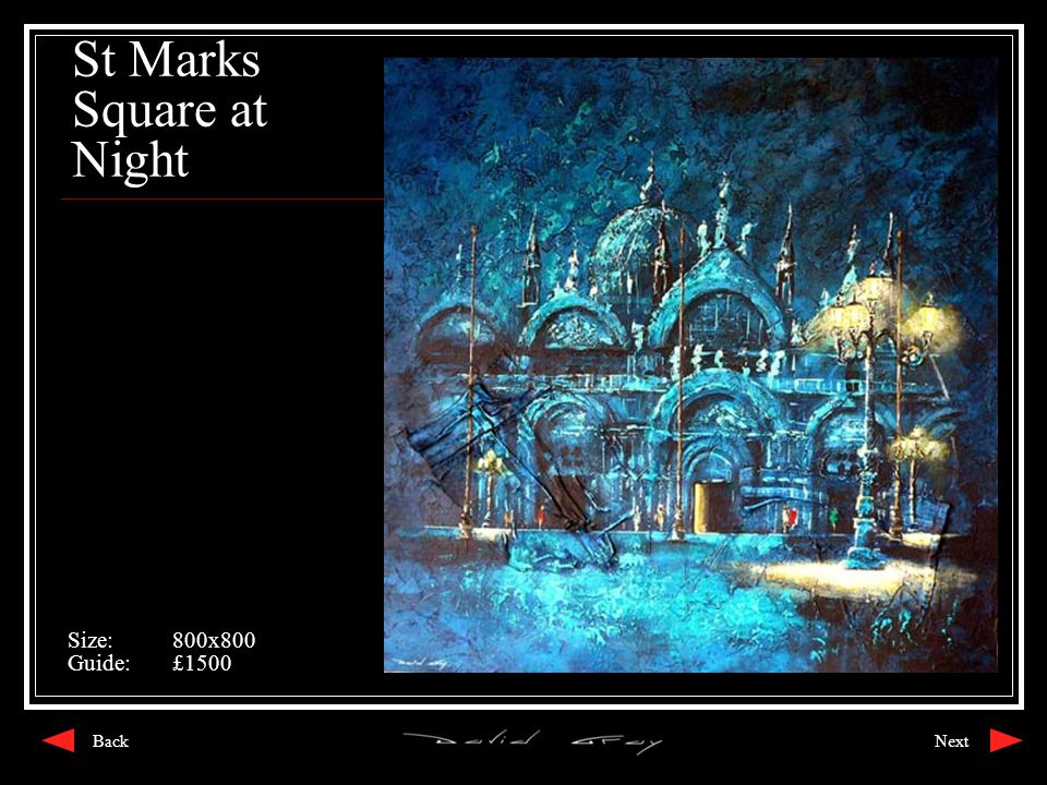 St Marks Square at Night Size:800x800 Guide:£1500 NextBack