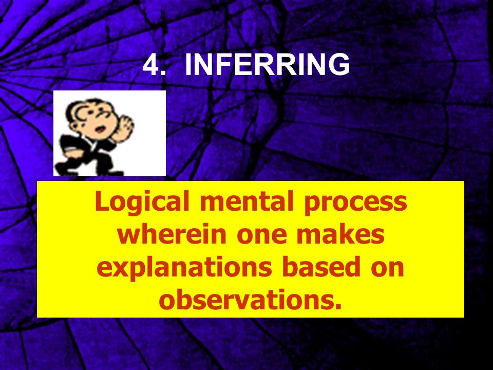 4. INFERRING Logical mental process wherein one makes explanations based on observations.