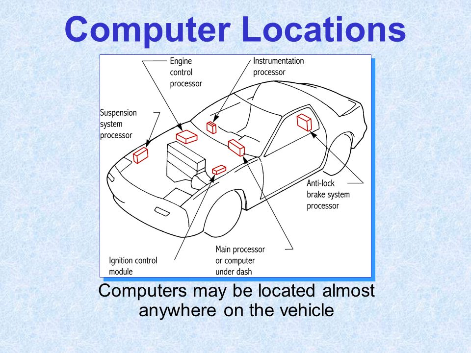 Computer Locations Computers may be located almost anywhere on the vehicle