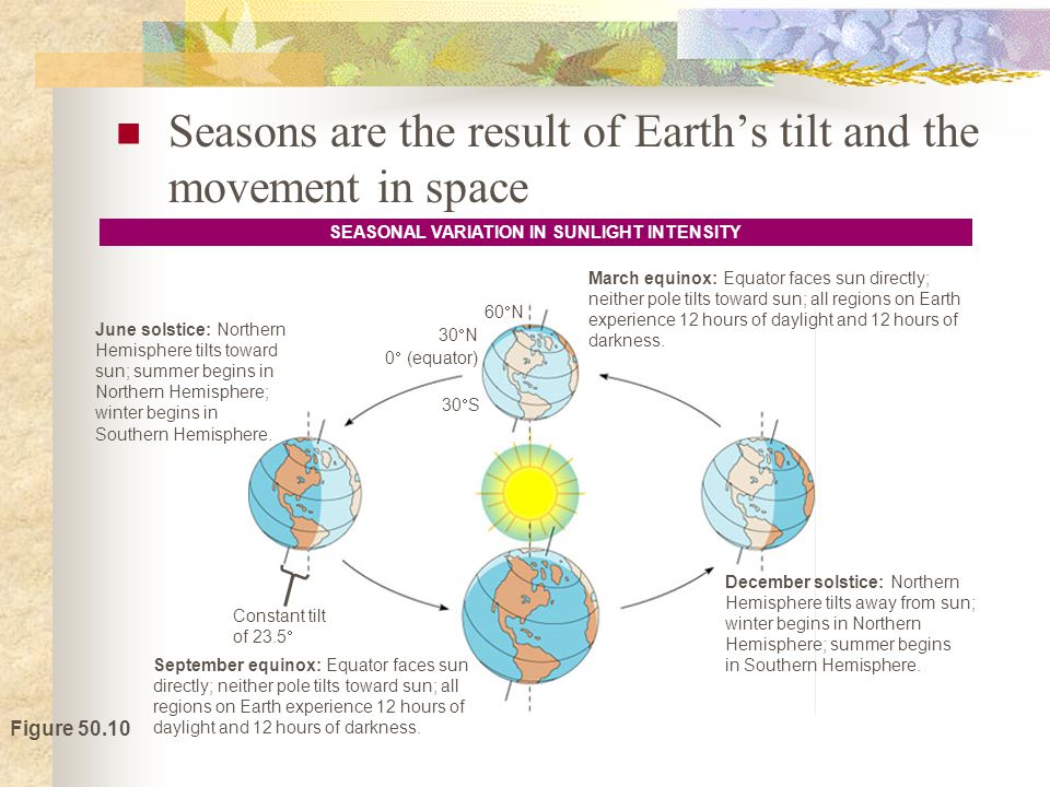 Figure 50.10 June solstice: Northern Hemisphere tilts toward sun; summer begins in Northern Hemisphere; winter begins in Southern Hemisphere.