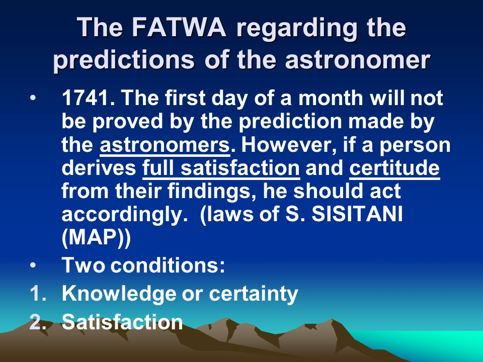 The FATWA regarding the predictions of the astronomer 1741.
