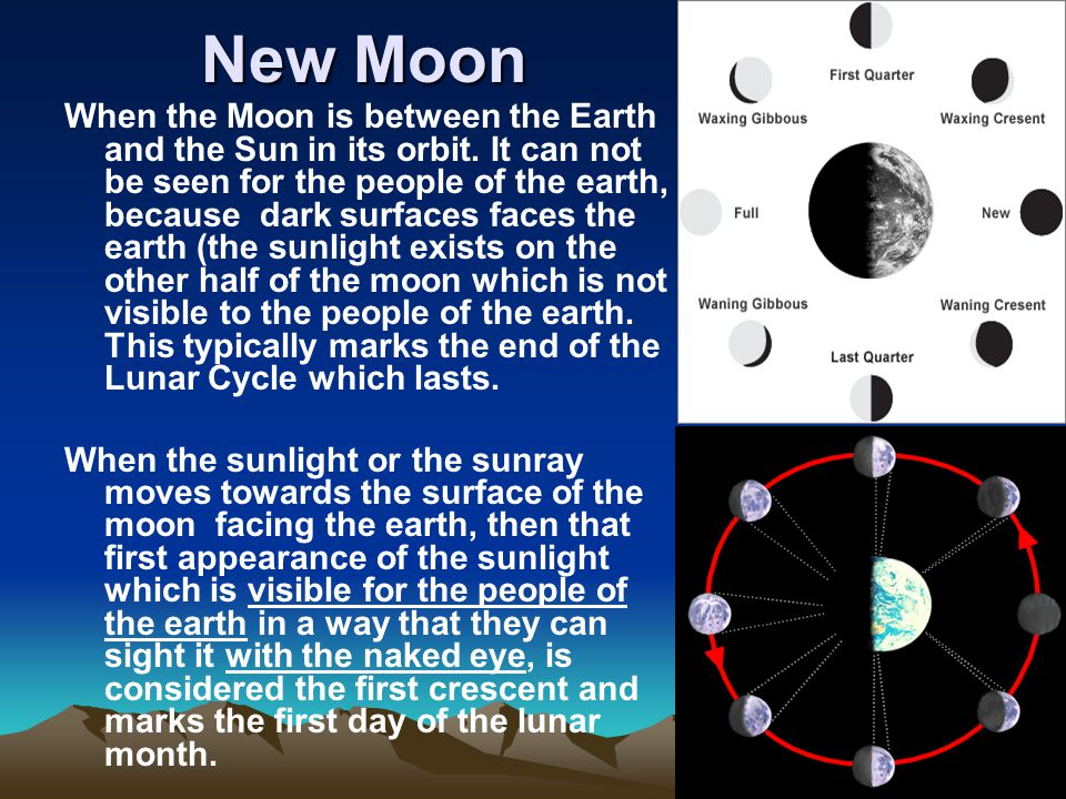 New Moon When the Moon is between the Earth and the Sun in its orbit.