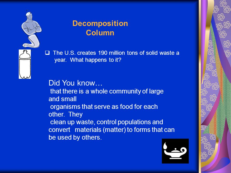 Decomposition Column  The U.S. creates 190 million tons of solid waste a year.