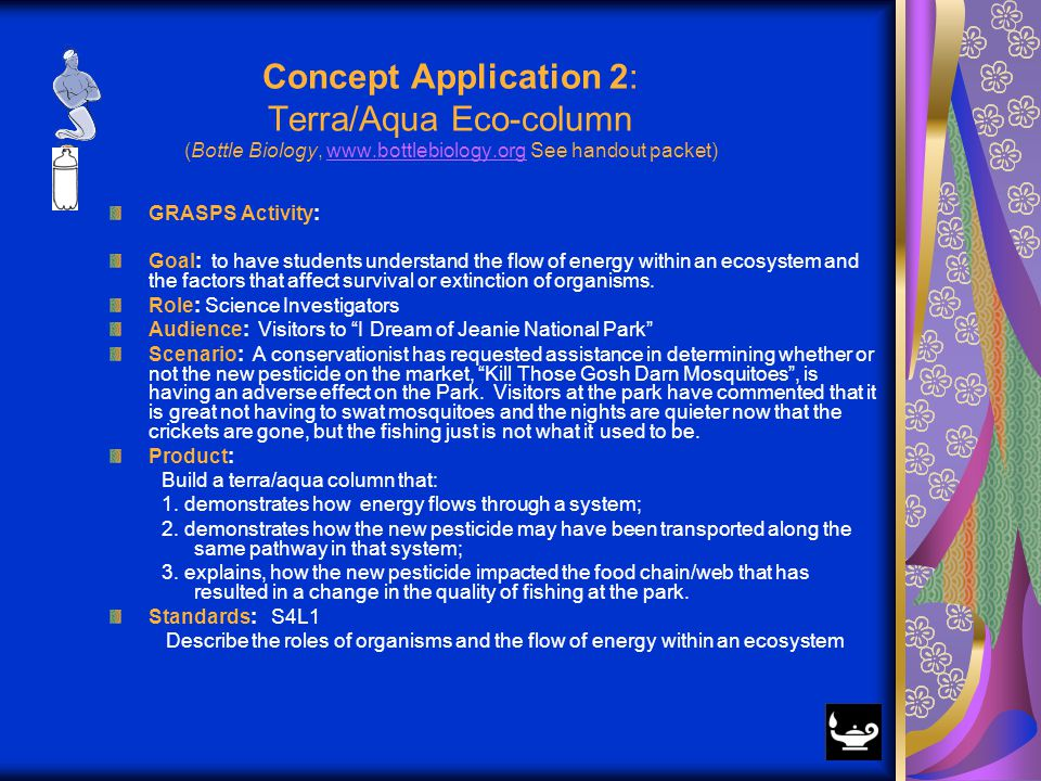 Concept Application 2: Terra/Aqua Eco-column (Bottle Biology, www.bottlebiology.org See handout packet)www.bottlebiology.org GRASPS Activity: Goal: to have students understand the flow of energy within an ecosystem and the factors that affect survival or extinction of organisms.