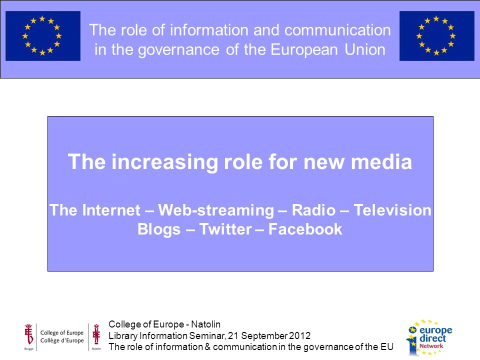 College of Europe - Natolin Library Information Seminar, 21 September 2012 The role of information & communication in the governance of the EU The role of information and communication in the governance of the European Union The increasing role for new media The Internet – Web-streaming – Radio – Television Blogs – Twitter – Facebook