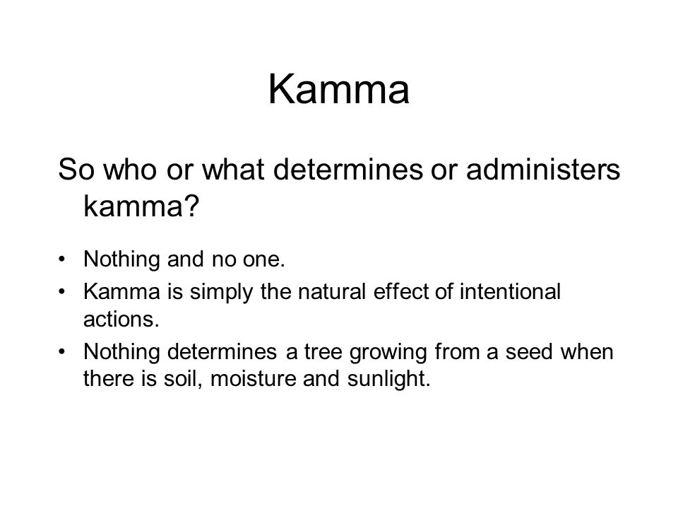 Kamma So who or what determines or administers kamma.