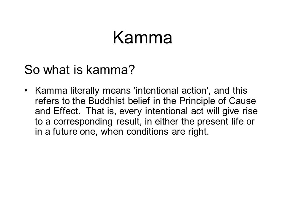 Kamma So what is kamma? Kamma literally means 'intentional action', and this refers to the Buddhist belief in the Principle of Cause and Effect. That
