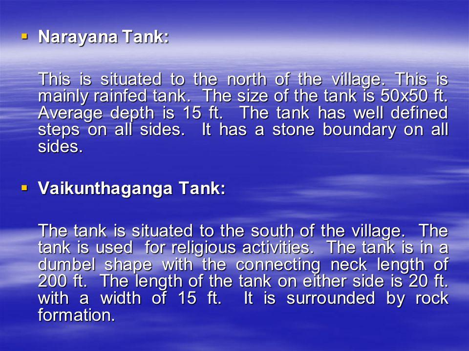 SALIENT FEATURES OF THE TANKS: ParametersKalyaniVedaDarbhaPadmaPalashaMytreyaNarayana Vaikunta Ganga 1.