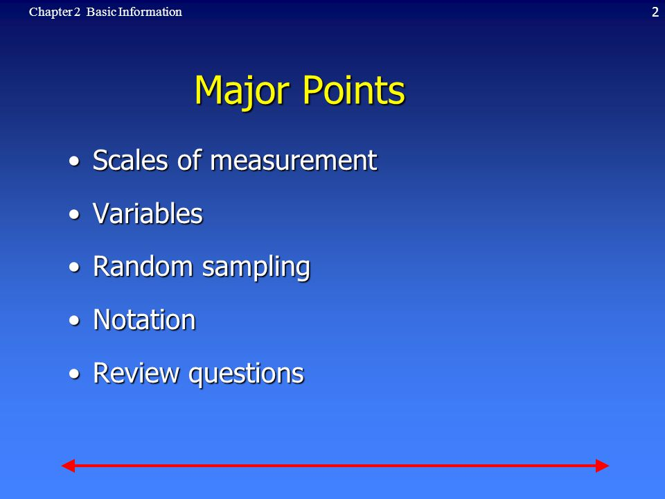 2Chapter 2 Basic Information Major Points Scales of measurementScales of measurement VariablesVariables Random samplingRandom sampling NotationNotation Review questionsReview questions