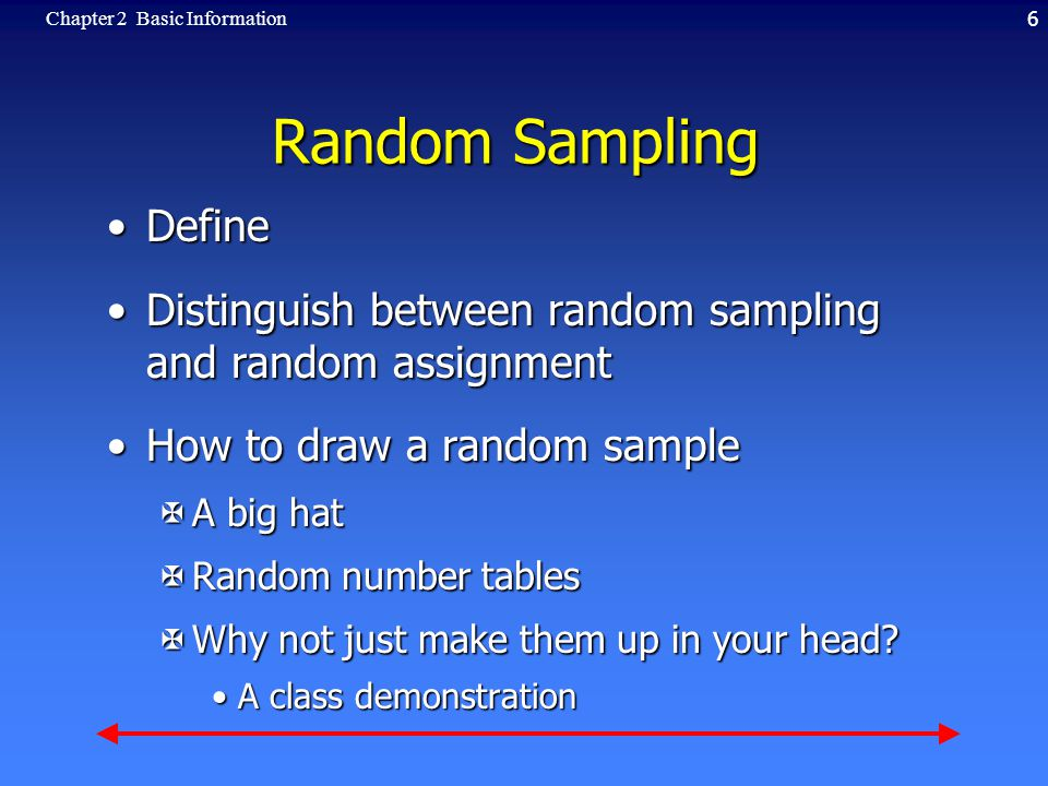 6Chapter 2 Basic Information Random Sampling DefineDefine Distinguish between random sampling and random assignmentDistinguish between random sampling and random assignment How to draw a random sampleHow to draw a random sample XA big hat XRandom number tables XWhy not just make them up in your head.