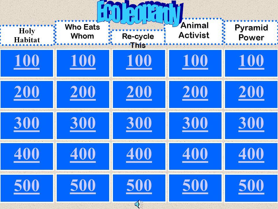 500 100 200 300 100 300 200 300 200 100 200 500 300 200 100 400 Holy Habitat Who Eats Whom Animal Activist Animal Activist Pyramid Power Re-cycle This