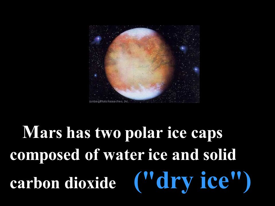 M ars has two polar ice caps composed of water ice and solid carbon dioxide ( dry ice )