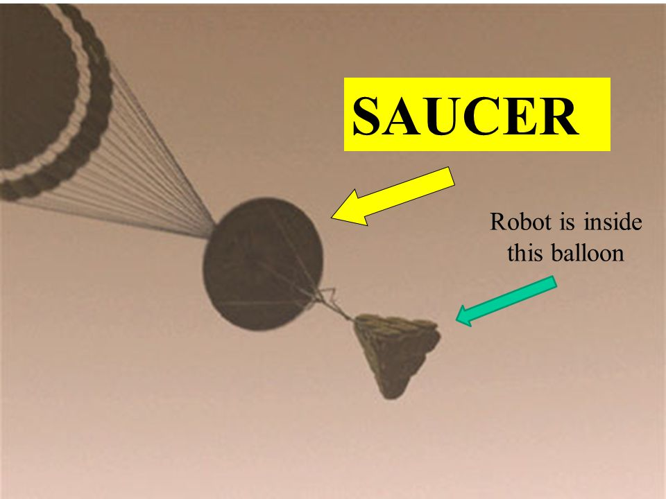 SAUCER Robot is inside this balloon