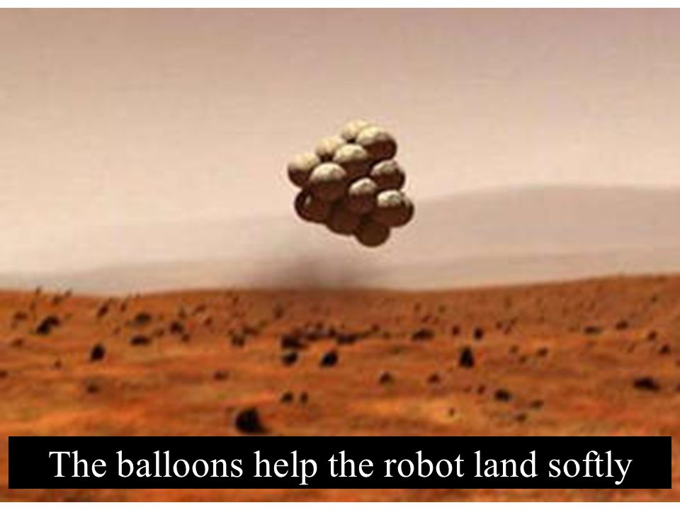 The balloons help the robot land softly