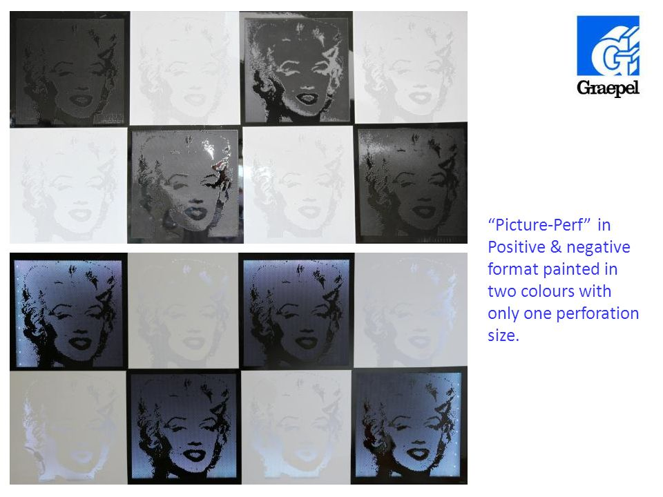 """Picture-Perf"" in Positive & negative format painted in two colours with only one perforation size."