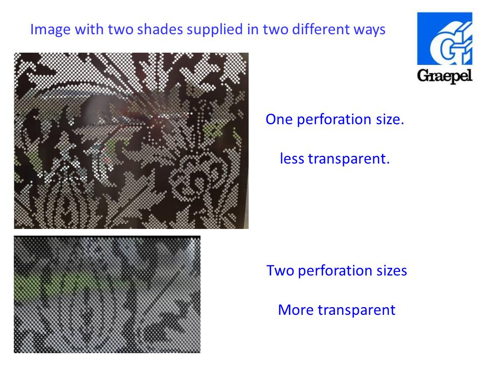 One perforation size. less transparent. Two perforation sizes More transparent Image with two shades supplied in two different ways