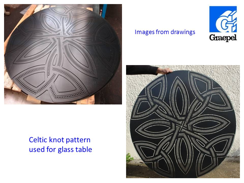 Celtic knot pattern used for glass table Example 2 Single size hole in circles Images from drawings