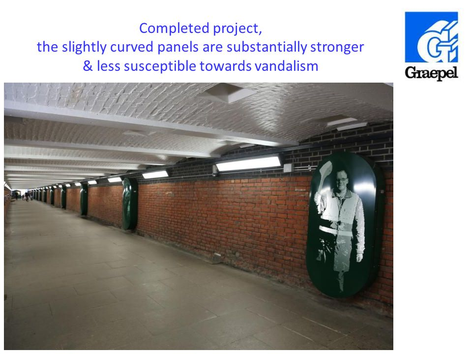 Completed project, the slightly curved panels are substantially stronger & less susceptible towards vandalism