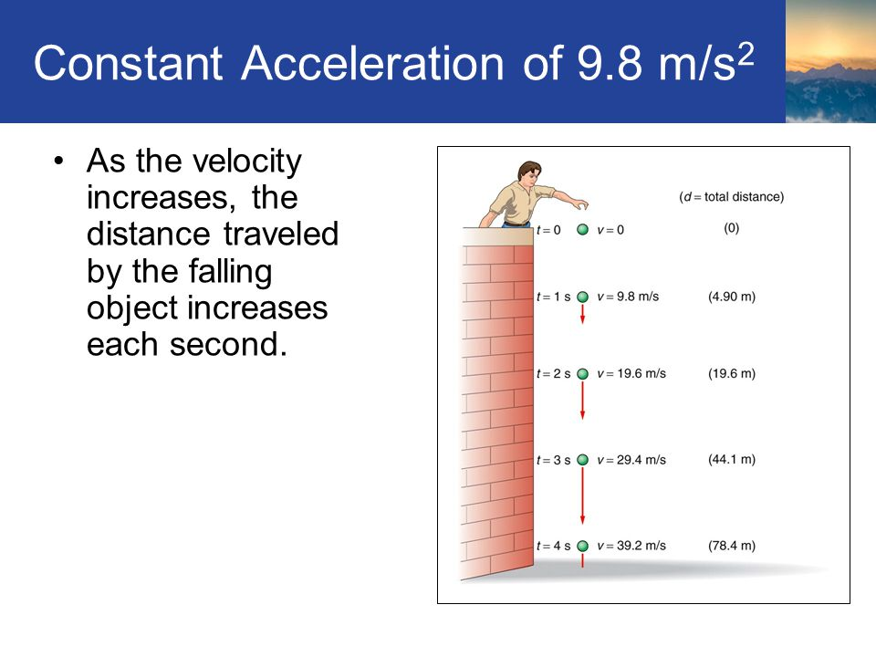 Constant Acceleration of 9.8 m/s 2 As the velocity increases, the distance traveled by the falling object increases each second. Section 2.3