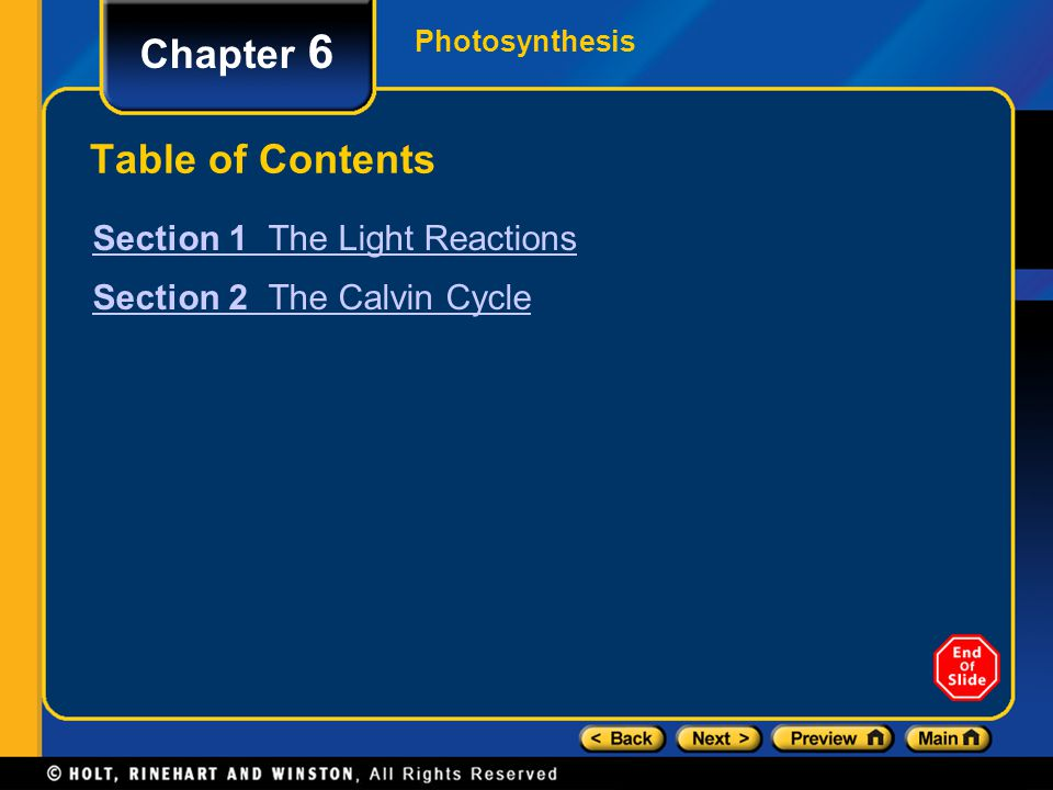 Section 1 The Light Reactions Chapter 6 F.