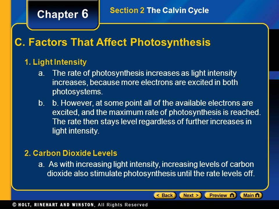 Chapter 6 C. Factors That Affect Photosynthesis 1. Light Intensity a.The rate of photosynthesis increases as light intensity increases, because more e