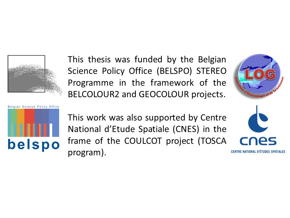 This thesis was funded by the Belgian Science Policy Office (BELSPO) STEREO Programme in the framework of the BELCOLOUR2 and GEOCOLOUR projects.