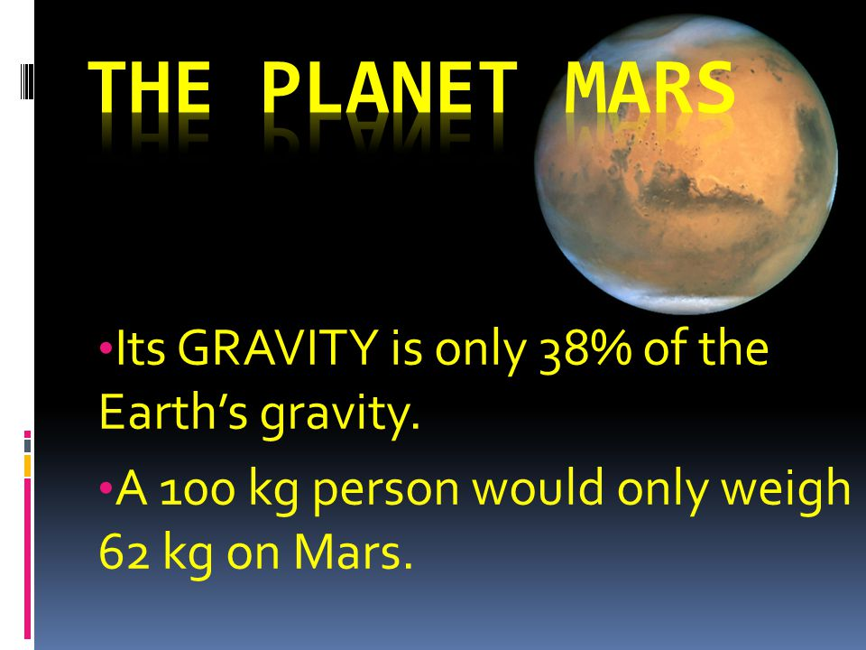 Its GRAVITY is only 38% of the Earth's gravity. A 100 kg person would only weigh 62 kg on Mars.