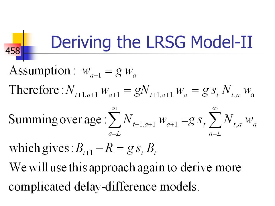 458 Extending the biomass-based delay- difference model-I One of the fundamental assumptions of the LRSG model is its growth model.