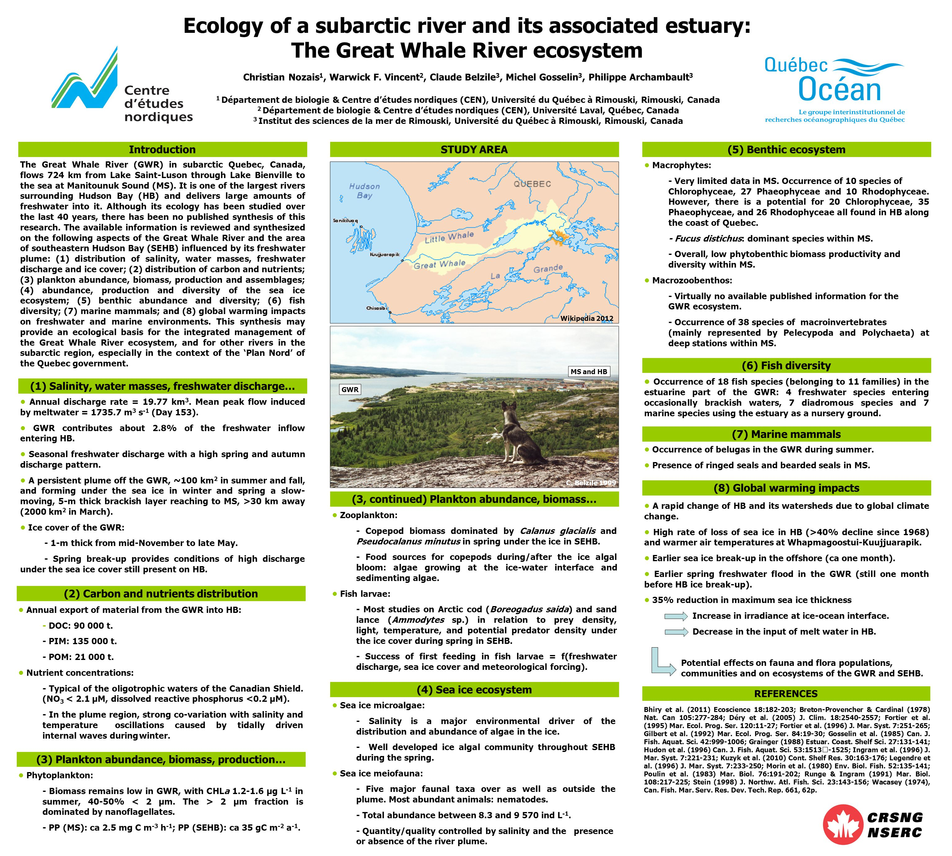 (1) Salinity, water masses, freshwater discharge… STUDY AREA (4) Sea ice ecosystem (6) Fish diversity Ecology of a subarctic river and its associated