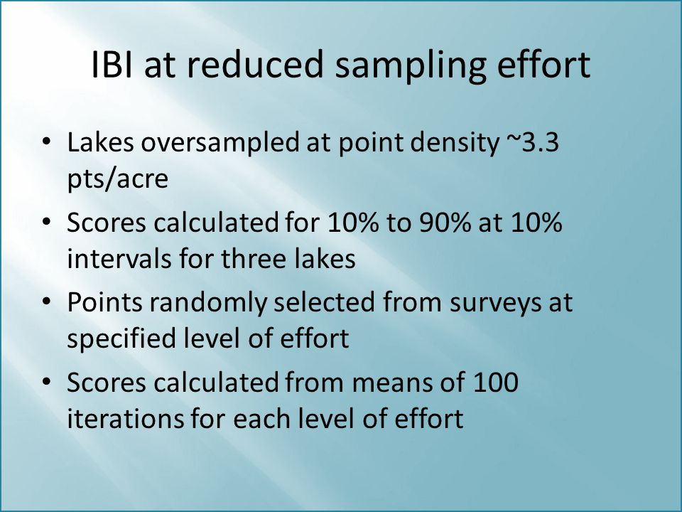 IBI at reduced sampling effort Lakes oversampled at point density ~3.3 pts/acre Scores calculated for 10% to 90% at 10% intervals for three lakes Poin