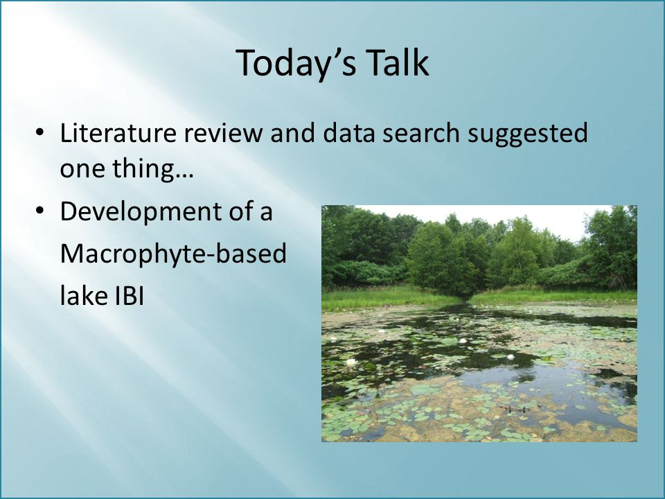 Today's Talk Literature review and data search suggested one thing… Development of a Macrophyte-based lake IBI