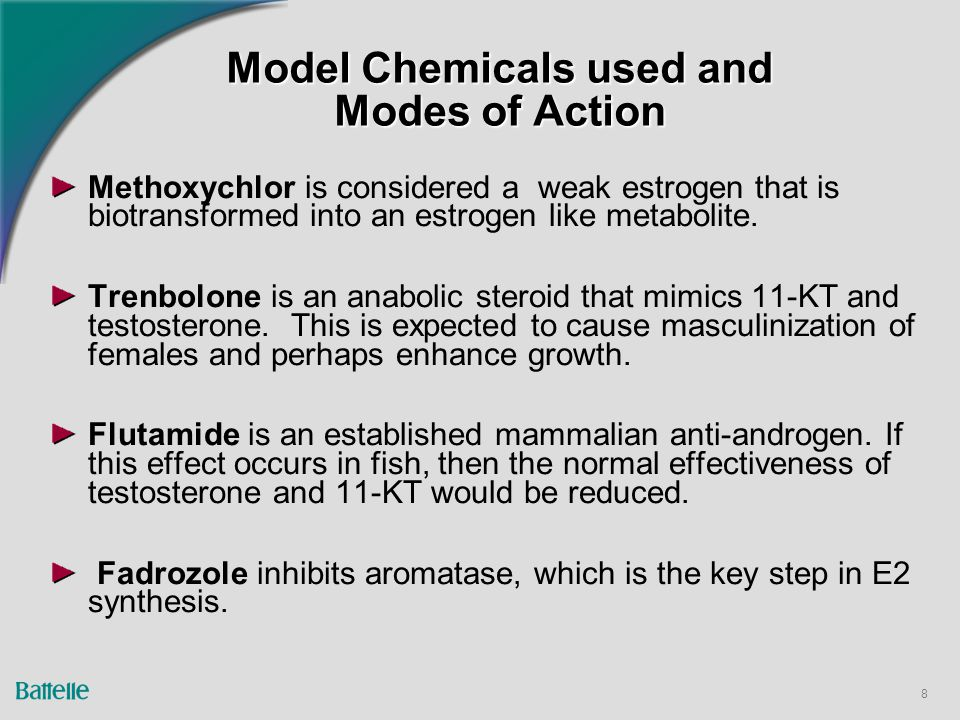 8 Model Chemicals used and Modes of Action Methoxychlor is considered a weak estrogen that is biotransformed into an estrogen like metabolite.